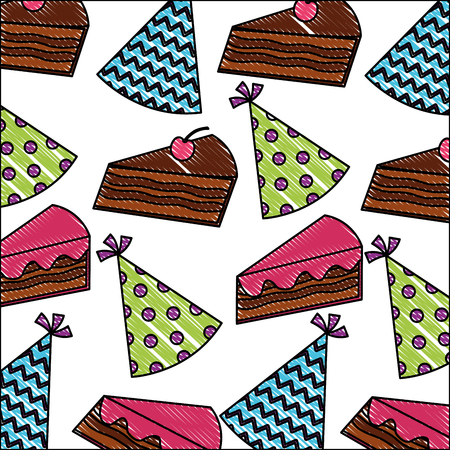 birthday piece cake cherry and party hat pattern vector illustration