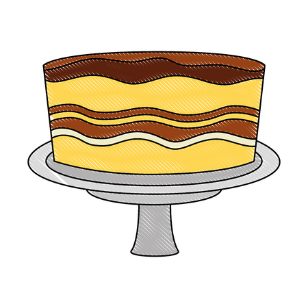birthday sweet cake in stand party decoration vector illustration drawing color