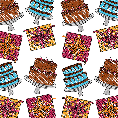 birthday cakes cream fruits and gifts pattern vector illustration
