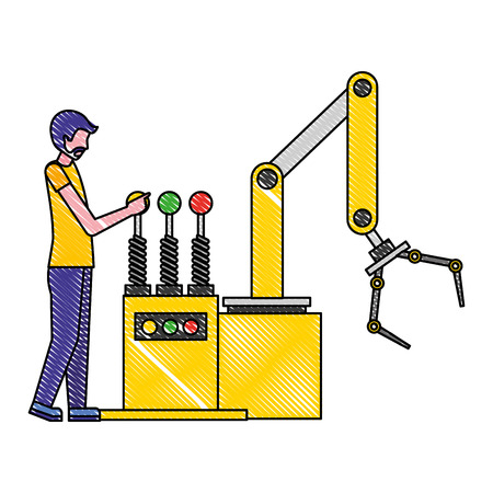 operator working with the robotic arm industrial factory
