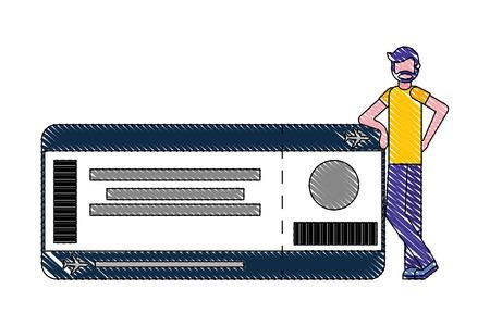 beard man with air ticket pass travel vector illustration