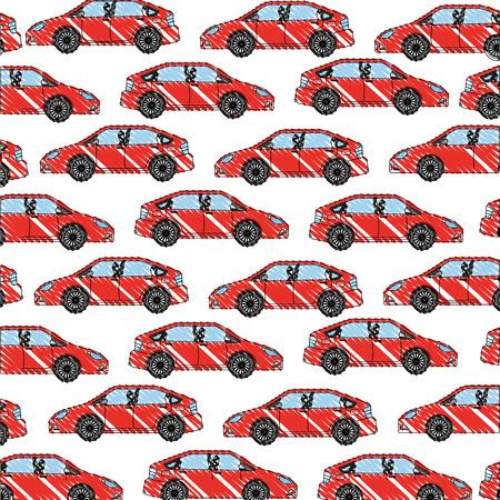vehicle car motor transport pattern design vector illustration drawing color