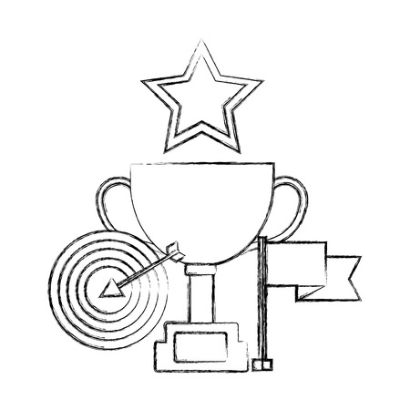 trophy cup with target arrow and set icons vector illustration design