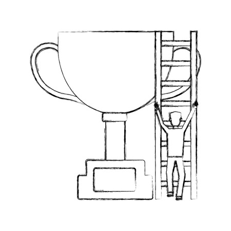 trophy award cup with businessman and stairs vector illustration design