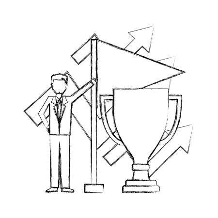 trophy cup with businessman and flag vector illustration design Vektorové ilustrace