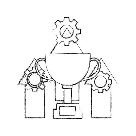 trophy cup with arrows up and gear machine vector illustration design 版權商用圖片 - 111660629