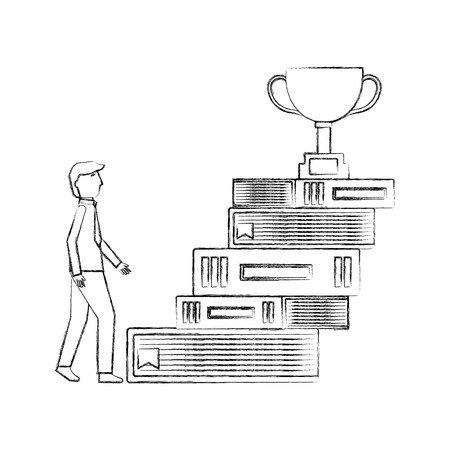 pile of library books with trophy cup and businessman vector illustration design