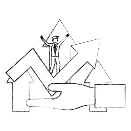 hand with businessman and arrows isolated icon vector illustration design