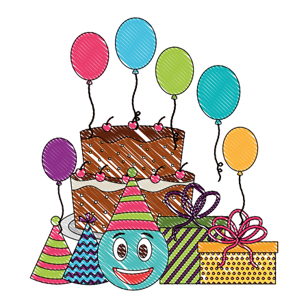 birthday cake emoticon face gifts balloons and party hats vector illustration