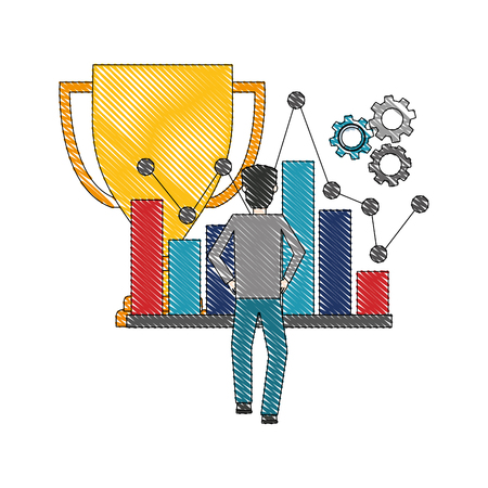trophy cup with businessman and set icons vector illustration design