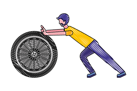 beard man pushing car wheel repair vector illustration drawing color Ilustracja