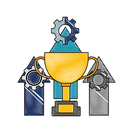 trophy cup with arrows up and gear machine vector illustration design