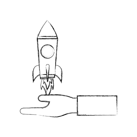 hand with startup rocket isolated icon vector illustration design