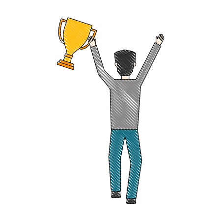 businessman with trophy cup avatar character vector illustration design