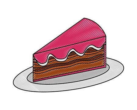 sweet piece cake on dish food dessert vector illustration drawing color