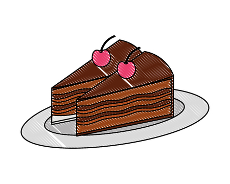 delicious pieces cake with cherries fruit on dish vector illustration drawing color