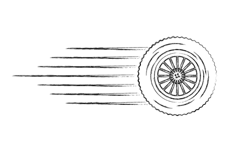 tire wheel car with speed lines vector illustration design