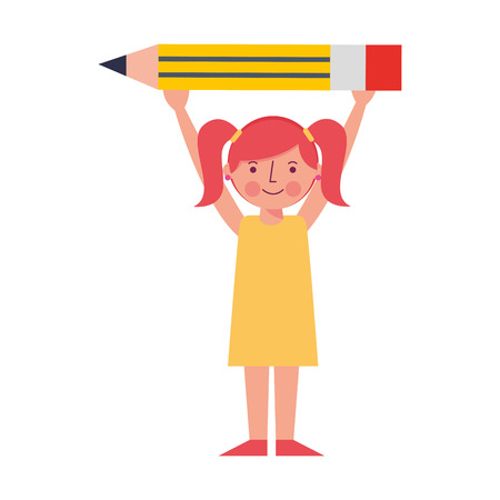little girl holding pencil creativity idea vector illustration Illustration
