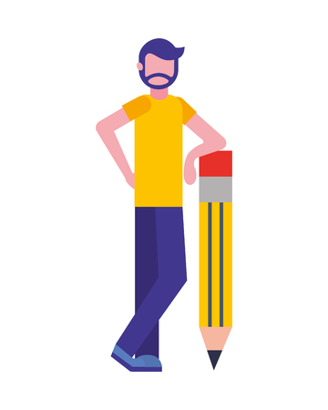 bearded man standing with big wooden pencil creativity vector illustration  イラスト・ベクター素材