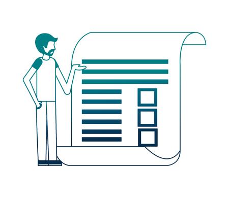 beard man standing document report paper vector illustration neon image