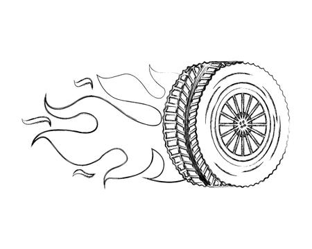 Reifen-Rad-Auto mit Flammen-Vektor-Illustration-Design