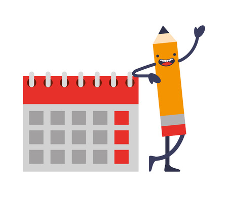 creativity kawaii pencil calendar planning vector illustration