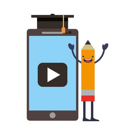 creativity pencil kawaii smartphone graduation hat vector illustration Illustration