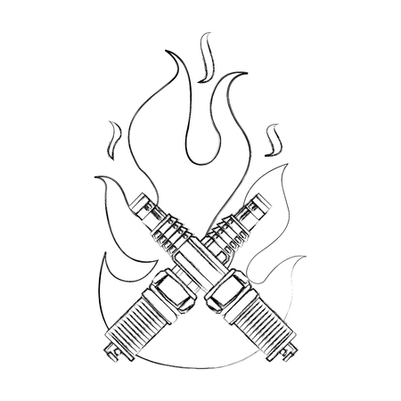spark plug engine pieces crossed in flame vector illustration design