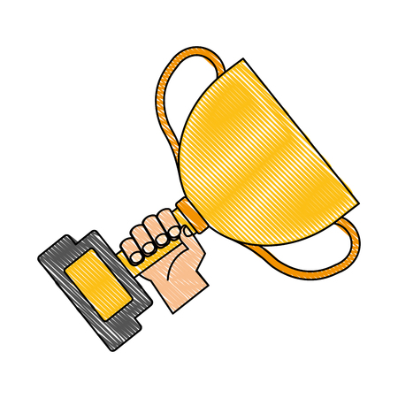 hand with trophy award cup isolated icon vector illustration design Çizim
