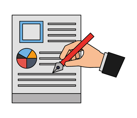hand with steel basic tip writing document business vector illustration Stockfoto - 107015912