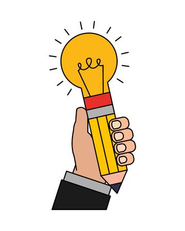 hand holding bulb pencils shape rocket creativity vector illustration
