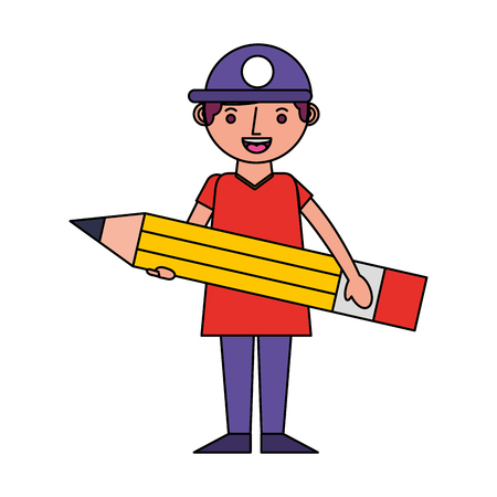 little boy with pencil in hands creativity vector illustration