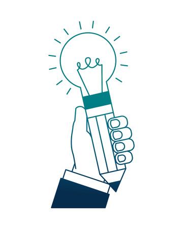 hand holding bulb pencils shape rocket creativity vector illustration neon image