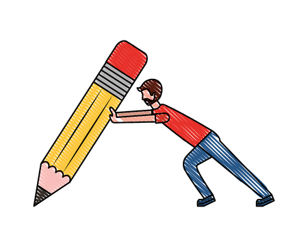 beard man pushing pencil creativity concept vector illustration Ilustração