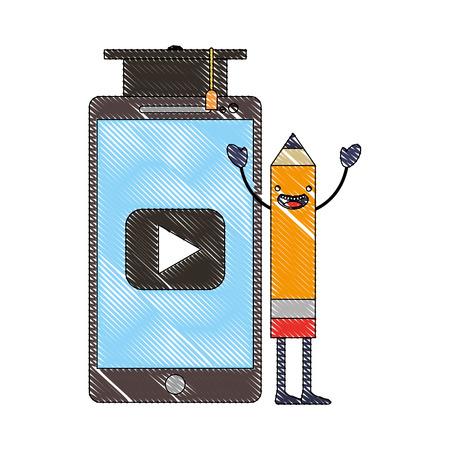 creativity pencil kawaii smartphone graduation hat vector illustration Ilustração