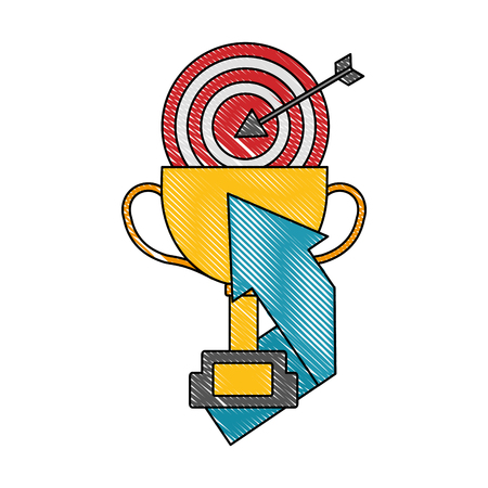 trophy cup with target and arrow up vector illustration design Illustration