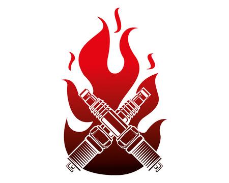 spark plug engine pieces crossed in flame vector illustration design