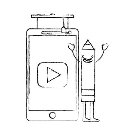 creativity pencil kawaii smartphone graduation hat vector illustration hand drawing Illustration