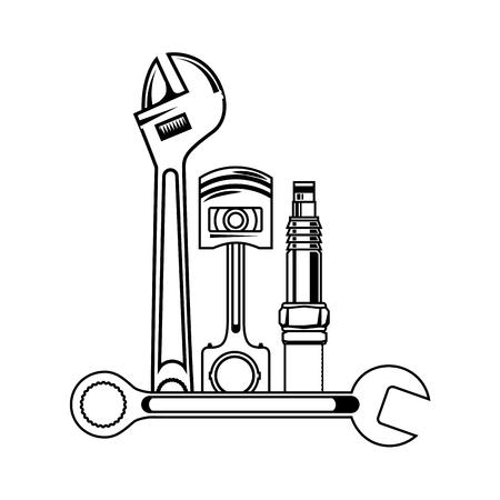 set mechanical tools icon vector illustration design