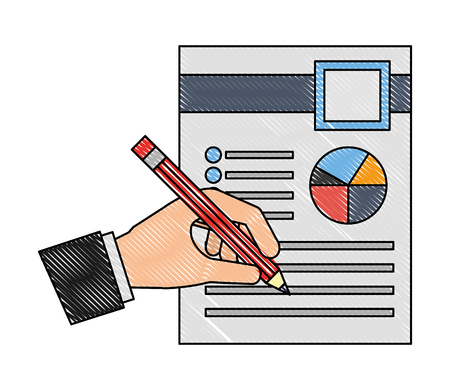 hand with pencil document report business vector illustration