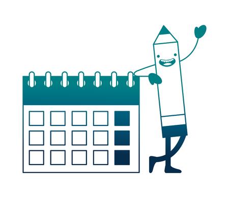 creativity kawaii pencil calendar planning vector illustration neon image