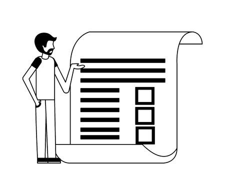 beard man standing document report paper vector illustration