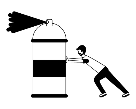 designer man pushing spray canister painting creativity vector illustration Illustration
