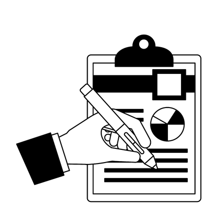 hand writing with fountain pen on document clipboard vector illustration  イラスト・ベクター素材