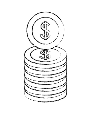 stacked dollar currency coins money vector illustration hand drawing Illustration