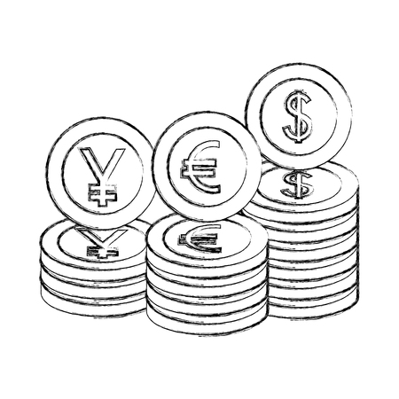 stacked currency coins yen euro dollar money vector illustration hand drawing