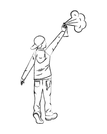 graffiti artist man with spray painting vector illustration hand drawing Vettoriali