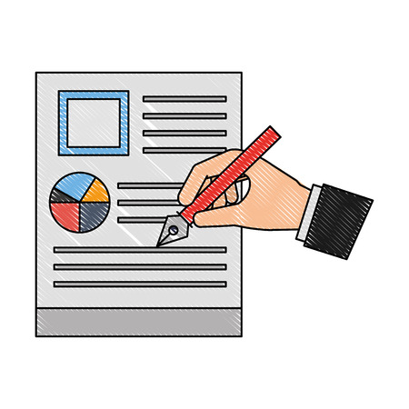 hand with steel basic tip writing document business vector illustration