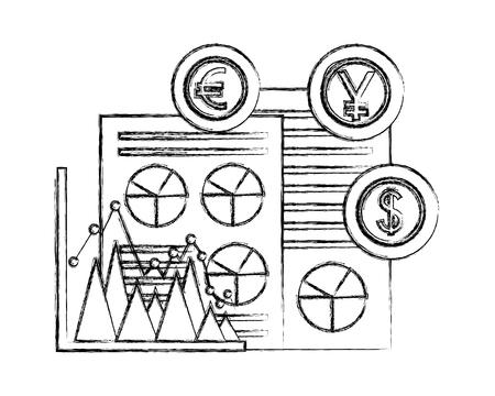 Negocio de negocios yen euro gráfico de divisas ilustración vectorial boceto de divisas Foto de archivo - 107019387