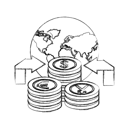 world arrows currency yen euro dollar money foreign exchange vector illustration hand drawing Иллюстрация